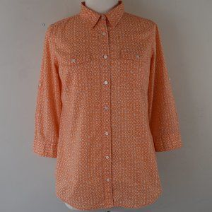 Size Medium Roll Tab Sleeve Button Up Shirt Cotton